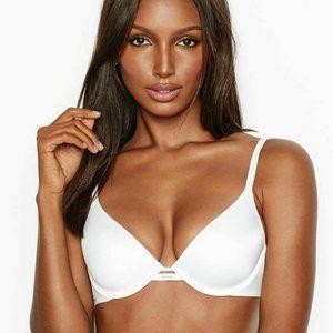Victoria Secret Lined Plunge Bra Optic White Satin